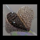 RING sz 7.5 sterling 925 silver BLACK & WHITE LARGE HEART ..