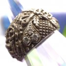 RING sz 7 VINTAGE sterling HEARTS and FLOWERS w/ RHINESTONE ACCENTS