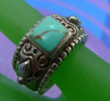 RING sz 7.5 sterling 925 unique TURQUOISE band w/ BEADED EDGES SCROLLS CURLY Qs