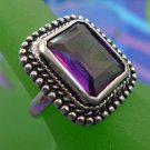 RING sz 7 sterling 925 silver GRAPE JUICE COLOR STONE ..  NF THAILAND