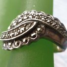 "RING sz 7.5 sterling 925 silver VINTAGE marcasite SIGNED ""W"""