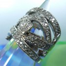 """RING sz 6 sterling 925 signed """"F""""  PAVE w/ white GEMSTONE wide COBRA CROSSOVER"""