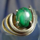 RING sz 6.5 signed sterling 925 silver DECO STYLE MALACHITE STONE