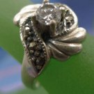 RING sz 7 vintage DECO RHINESTONE and MARCASITE sterling 925 silver