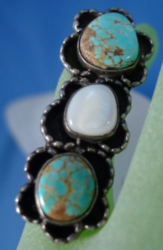 RING sz 5 : Indian Silver Turquoise MOP Turquoise Tall