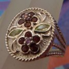 RING sz 5.5 sterling TWISTED CABLE gemstone FLOWER hallmark signed THAILAND NWOT