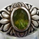 RING sz 5.5 sterling 925 silver LIME GREEN STONE THICK SOLID signed KC INDO