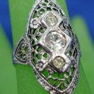 "RING sz 5 vintage FILIGREE sterling 925 silver 3 RHINESTONE signed ""U"""