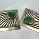 clip EARRINGS:  sterling 925 silver SUDHA Pennathur MALACHITE art DECO