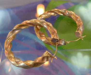 hoop EARRINGS:  sterling 925 silver & 14K gold SIGNED JJT twisted hoops