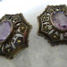 vintage post earrings :  AMETHYST AND MARCASITE IN STERLING SILVER signed ND