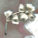 BROOCH / PIN : DOGWOOD BLOSSOM signed BB (BINDER BROS) STERLING 925 SILVER