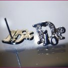 PIERCED POST LOGO STUD earrings : RHINESTONE designer BLING