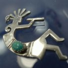 PENDANT: sterling 925 silver KOKOPELLI flute player FERTILITY GOD w/ Turquoise