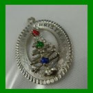 vintage CHRISTMAS Tree HOLIDAY CHARM w/ Gemstone Lights : M&M Sterling 1964 DHF