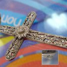CROSS PENDANT: Filigree & Marcasite 1.5'' Germany CIRCLED HALLMARK