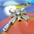 CROSS PENANT : sterling RHINESTONE ONE INCH CROSS signed GSJ THAILAND