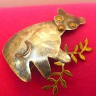 Koala Bear Eating Leaves  Brooch / Pendant COMBO 2 inches tall / Sterling Silver
