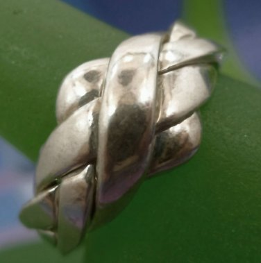 RING sz 10.5 sterling 925 silver 4 BAND PIECE PUZZLE RING - NEW OLD STOCK