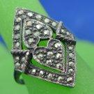 RING sz 7.5 : sterling 925 silver vintage vtg MARCASITE DOUBLE HEART signed NF