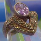 vintage ART DECO RING sz 6 silver 925 MARCASITE and AMETHYST signed