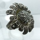 sz 6.5 sterling silver Ring SUNFLOWER covered w/ Marcasite & Rhinestones
