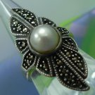 sz 10 Tall Sterling Ring w/ Pearl & Marcasite by JUDITH JACK