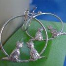 shepards hook EARRINGS: sterling silver 2 Kittens Dangle