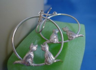 shepards hook EARRINGS: sterling silver 2 Kittens Dangle