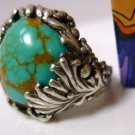 sz 8 RING: sterling 925 silver Hand Crafted Coppery Turquoise Indian