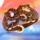 antique sz 9 Ring vintage Pink & Yellow Gold w/ 6 Smallish Diamonds