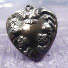 vintage HEART charm SILVER : PUFFY FLOWER DESIGN NOUVEAU HEART - NO MONOGRAM