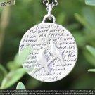 Inspirational Verse Charm 950 Silver - TWO BIRDS - FRIENDSHIP - 22mm