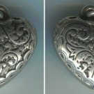 BEAUTIFUL ART NOUVEAU VINTAGE PUFFED or PUFFY  SILVER HEART CHARM