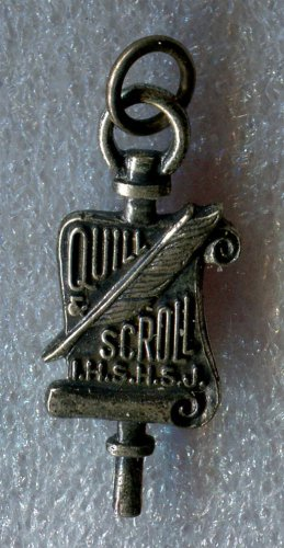 vintage STERLING SCHOOL CHARM : QUILL & SCROLL I.H.S.H.S.J. (HONOR SOCIETY)