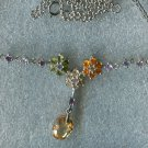 STERLING SILVER NECKLACE w/ 3 gemstone FLOWERS & BEAD RHODIUM or NICKEL PLATED