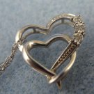 "PENDANT: 3 Diamond Double Sterling Heart - rj or JJ sterling - 18"" Chain"