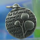 Inspirational Verse Charm 950 Silver TREE - TOMORROW / 16mm