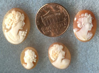 4 SMALL VINTAGE CARVED CAMEO CAREFULLY REMOVED FROM GOLD JEWELRY