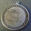 vintage CHARM : MAY QUEEN 1968 / UNMARKED ENGRAVED SILVER