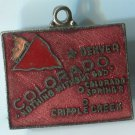 COLORADO : Enamel & Unmarked Silver Travel Souvenir Map Charm