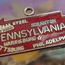 vintage RED ENAMEL TRAVEL SOUVENIR MAP CHARM :  PENNSYLVANIA : F STERLING
