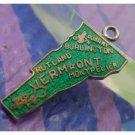 vintage GREEN ENAMEL TRAVEL SOUVENIR MAP CHARM : VERMONT : F STERLING