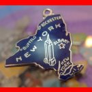 vintage BLUE ENAMEL TRAVEL SOUVENIR MAP CHARM :  CCC STERLING / APR 57 NEW YORK