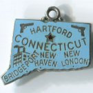 TRAVEL SOUVENIR CHARM by JMF : STERLING : BLUE ENAMEL CONNECTICUT MAP