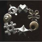 """BRACELET: 7"""" sterling 925 silver & brass SHAPES LINKS by RLM STUDIOS CHINA"""