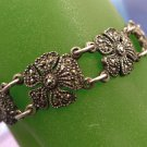 BRACELET : VINTAGE 935 SILVER MARCASITE FLOWERS // 6 3/4 inches // signed AK