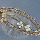 BROOCH / PIN: sterling 925 silver vintage vtg Filigree Blue Enamel Flowers Bow