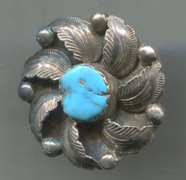 NATIVE AMERICAN ZUNI STERLING & TURQUOISE FLOWER PENDANT / BROOCH by SIMPLICIO