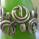"""vintage BRACELET: sterling 925 silver 7"""" vtg TAXCO MODERNIST ANGLED CLASP"""